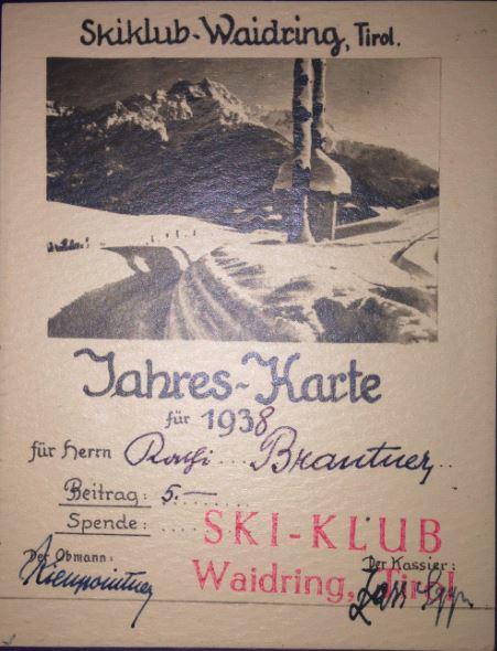 Jahreskarte Schiclub Waidring 1938