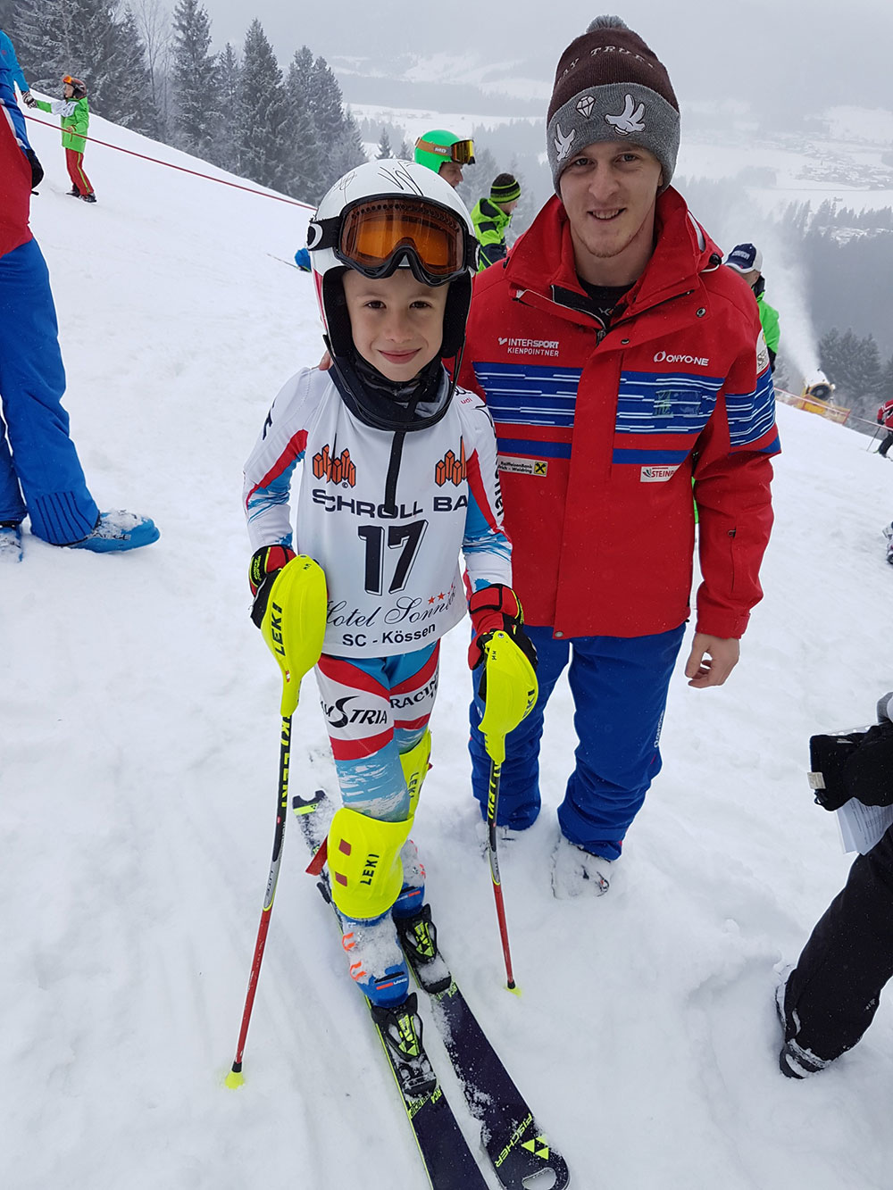 Kinder Bezirkscup Kössen 2018 - Maximilian Mitterer mit Trainer Mani